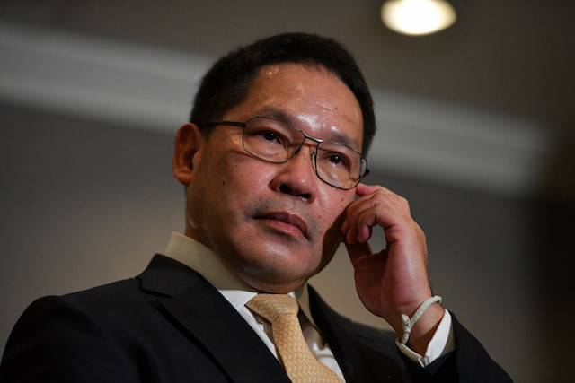 Thailand's Finance Minister Uttama Savanayana holds a press conference at Government House in Bangkok, Thailand on Thursday.