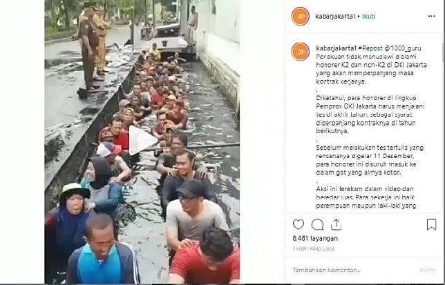 Unggahan video pegawai honorer K2 DKI Jakarta yang sedang menjalani seleksi untuk perpanjangan kontrak di Jelambar, Jakarta Barat.