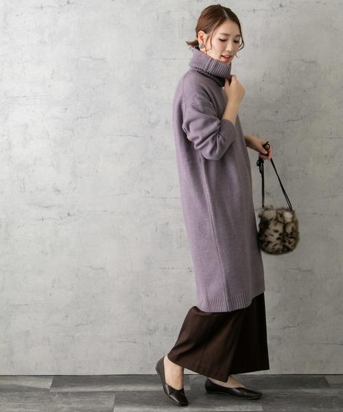 亮紫色針織連身裙