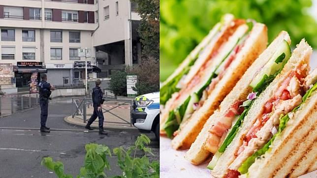 三明治槍擊案案發現場。圖/翻攝自(左)Twitter、(右)TVBS