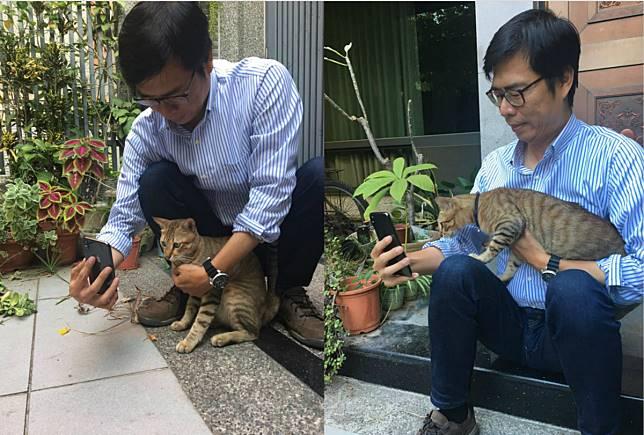 ▲陳其邁 16 日在臉書分享抱著愛貓「小米」的照片,更拿起手機和小米玩自拍。(圖/翻攝自陳其邁臉書)