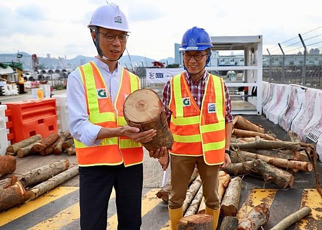 「山竹」襲港政府於啟德設立臨時木料廢物收集處。(環境局網頁)