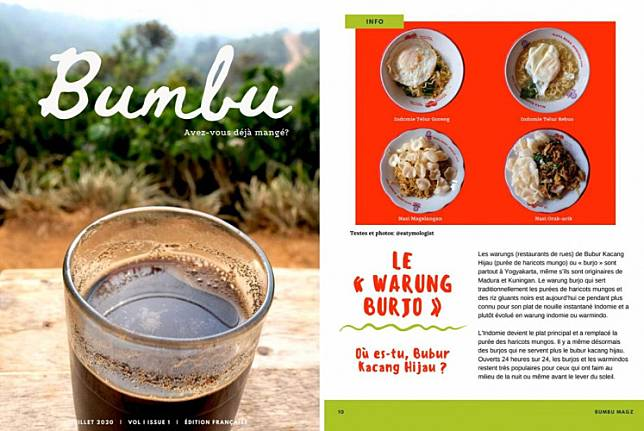 The cover of 'Bumbu' in its French version (left) and one of its articles about mung bean porridge stalls (right).