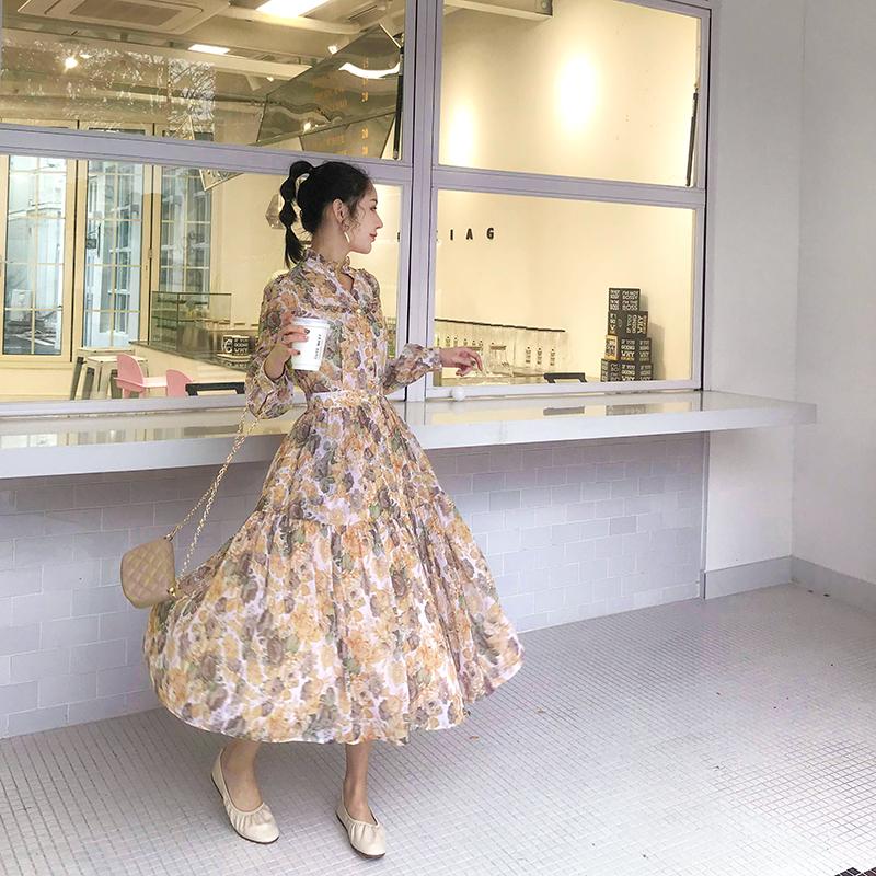 MC2019新款復古雪紡印花連衣裙V領長袖襯衫裙子法式小眾長裙女裝