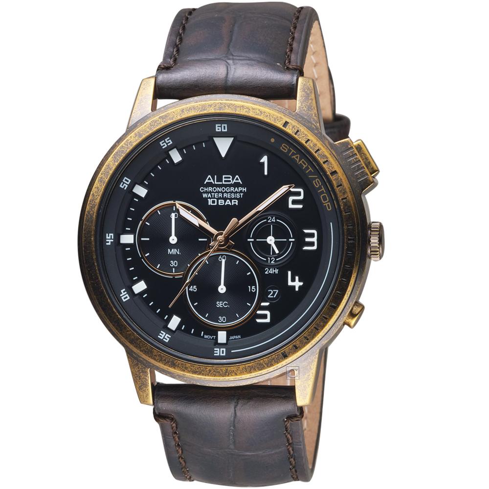 原廠公司貨具日期顯示、計時碼表配備藍寶石水晶鏡面不鏽鋼錶殼、皮革錶帶料號:VD53-X340U AT3G40X1