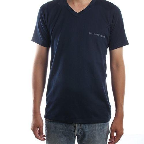 BURBERRY 日本限定正品男仕輕著運動夏季V領貼身透氣短袖T恤上衣(深藍/黑)