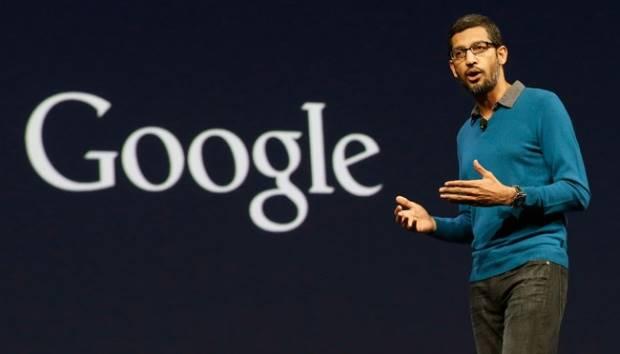 Sundar Pichai, senior vice president of Android, Chrome and Apps, speaks during the Google I/O 2015 keynote presentation in San Francisco (5/28). AP/Jeff Chiu