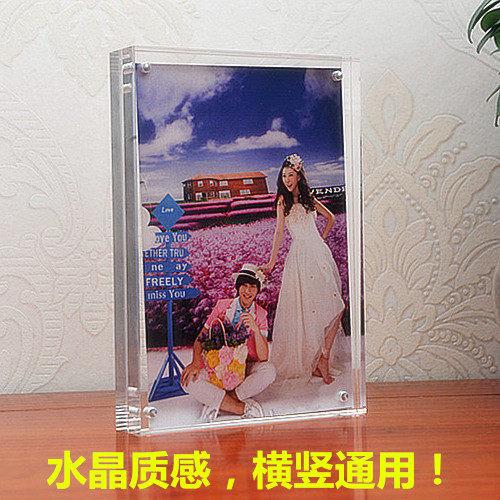相框 壓克力水晶相框擺臺56781012寸A4雙面玻璃磁鐵透明證書獎狀框定做 享購ATF