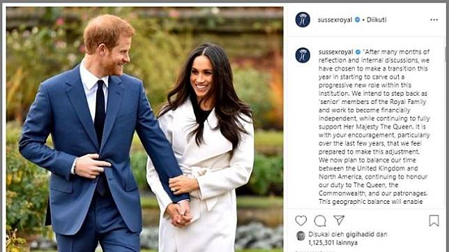 Pangeran Harry mengumumkan mundur dari anggota kerajaan. (Instagram/@sussexroyal)