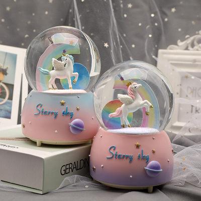 【免運】現貨 情侶禮物 獨角獸水晶球 擺件 飄雪卡通彩虹 八音音樂盒 兒童生日禮物 超值價