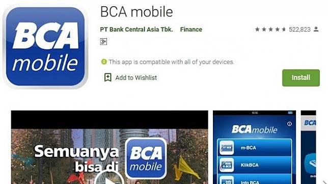 Tampilan aplikasi BCA Mobile untuk ponsel Android. [Dok Goole Play Store]
