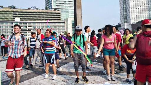 An image unseen: Lesbian, Gay, Bisexual and Transgender (LGBT) people stage a rally calling for greater protection of their rights at the Hotel Indonesia Traffic Circle in Jakarta, in November 2015. The COVID-19 outbreak has prevented the LGBT community from marching this year to commemorate the International Day against Homophobia, Transphobia and Biphobia (IDAHOT) on May 17.