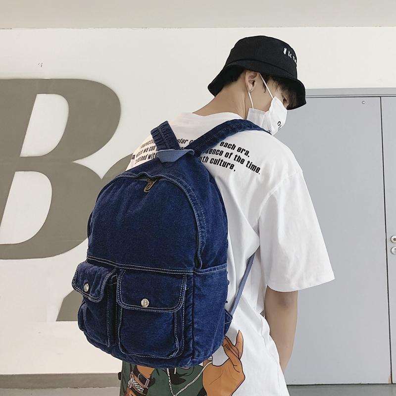 潮男必備 日系新品原宿風復古藍色牛仔布後背包 青少年街拍潮流個性雙肩包 學生休閒百搭書包 旅行背包 正韓男生包包 配件
