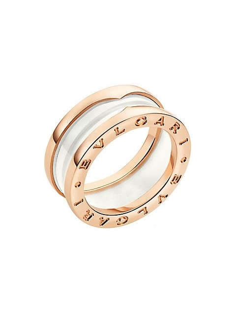 From the B.zero1 Collection. Striking white ceramic ring is flanked with two rose gold bands.; 18K r