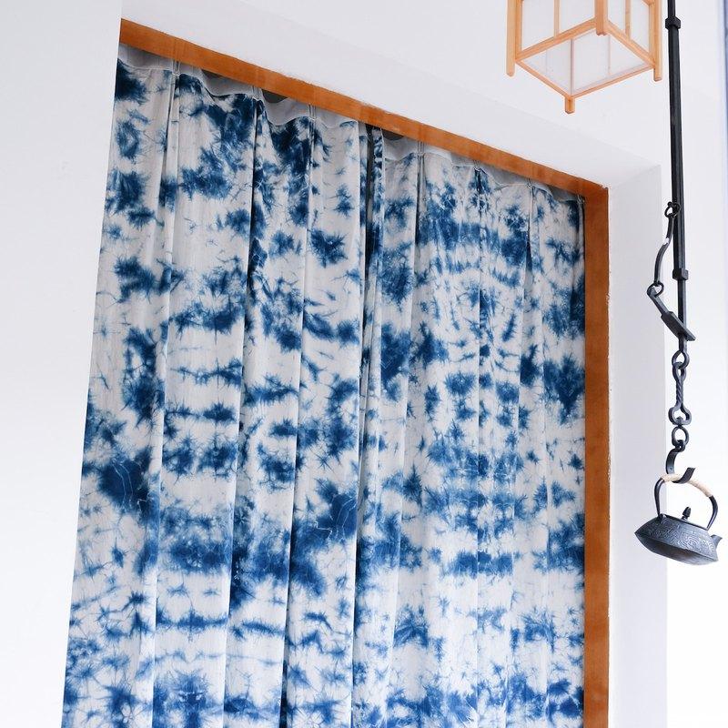 手工紮染藍染冰花純棉窗簾 訂製商品請聯繫設計師