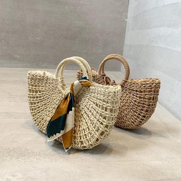 編織包 草編包大容量藤編包菜籃子包海邊度假沙灘包縷空手提編織包