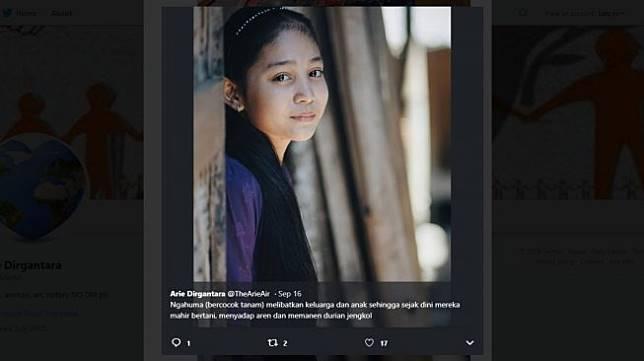 Gadis cantik suku Baduy. (twitter/TheArieAir)