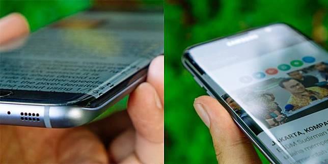 Sisi melengkung tersebut sekaligus membuat layar Galaxy S7 Edge tampak lebar dan tidak terbatas bezel karena teks dan gambar ikut meluber ke samping.(Oik Yusuf/ KOMPAS.com)