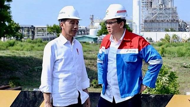 President Joko Widodo (left) chats with Pertamina president commissioner Basuki Tjahaja Purnama or Ahok during the former's visit to the refinery area of PT Trans Pacific Petrochemical Indotama (TPPI) in Tuban, East Java, Saturday, December 21, 2019.  instagram.com/basukibtp