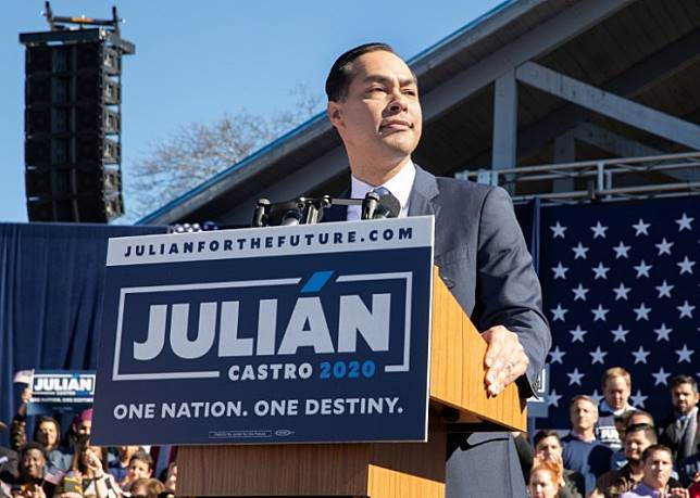 Former United States Secretary of Housing and Urban Development Juliàn Castro announces his candidacy for President of the United States in his hometown of San Antonio, Texas on Jan. 12.