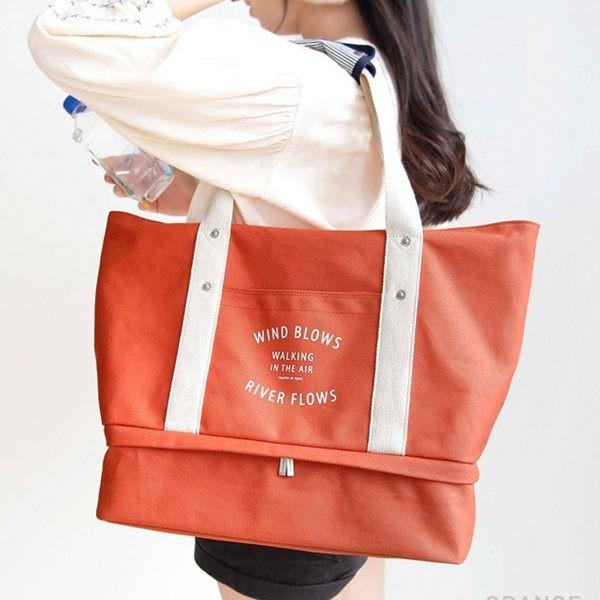 韓款單肩帆布旅行包 旅行袋 大容量 鞋子 行李拉桿 媽媽包