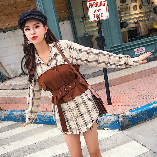 VK精品服飾 韓系時尚格紋拼接假兩件襯衫單品長袖上衣