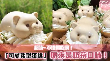 小肥豬這麼可愛~怎麼捨得吃呢!可愛肥豬造型~原來是奶茶味蛋糕!
