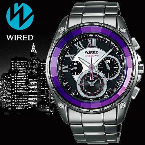 ALBA WIRED 東京街頭三眼計時腕錶 銀 紫 7T11-X008T(AL2043X)