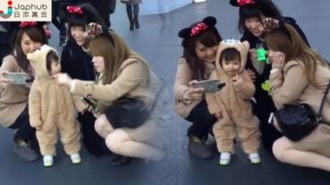 【有片】寶寶cosplay小熊duffy 可愛程度比園內的卡通人物更受歡迎呢!