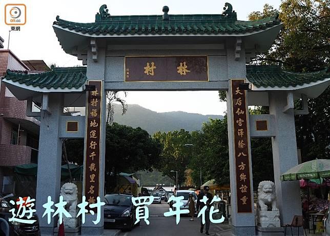 林村一日遊,首先來到「林村」的入口,穿過牌坊尋找第一個目的地─林村許願樹。(馮子伊攝)