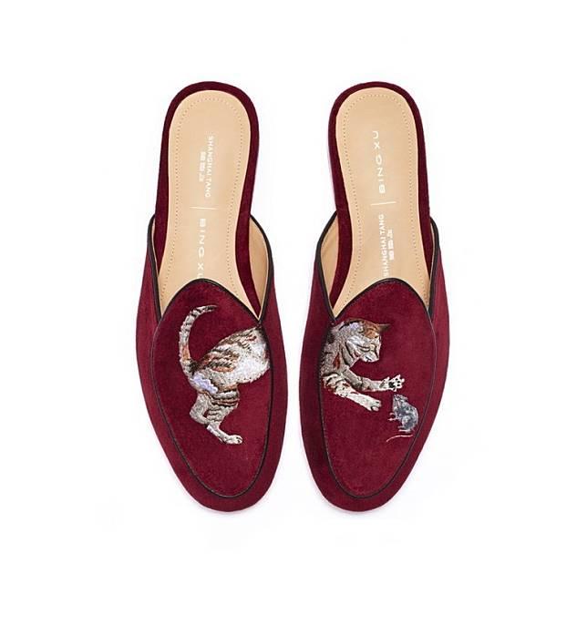 上海灘紅色貓咪及小老鼠刺繡平底 Mules(互聯網)