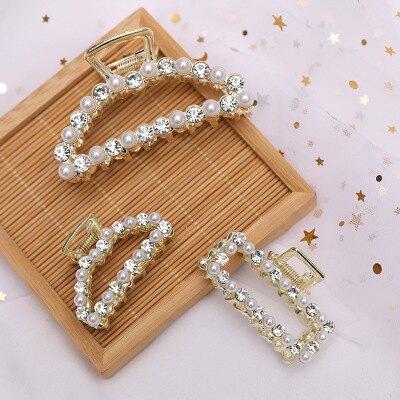大賀屋 韓國 飾品 小清新 珍珠 水鑽 金屬 抓夾 日系 甜美 簡約 幾何 鏤空 髮夾 髮簪夾