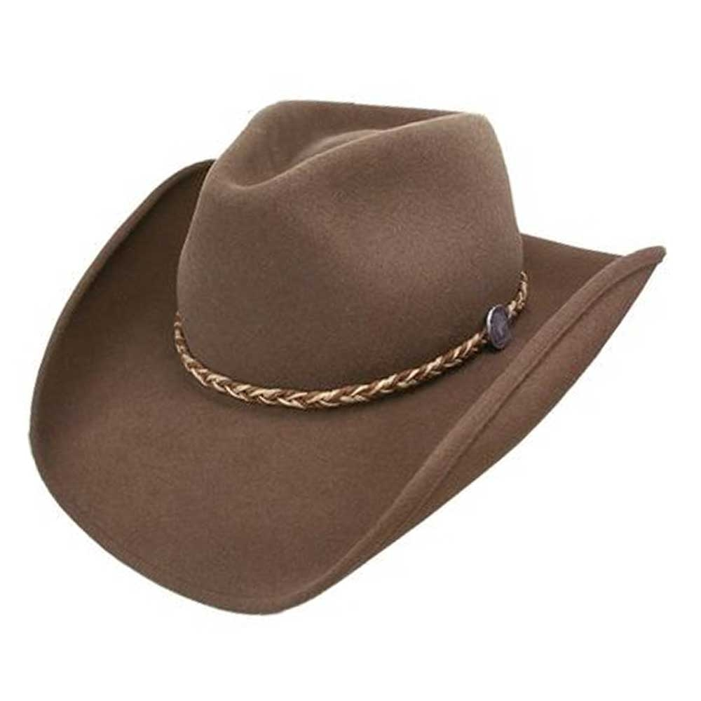 The Rawhide is a felt hat that contains some of the finest natural fibers blended with American biso