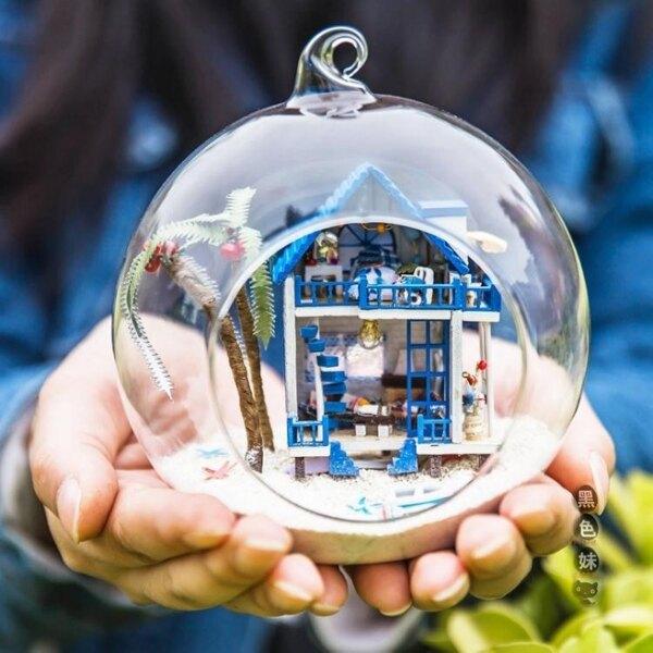 diy小屋 迷你玻璃球手工制作小房子模型拼裝女孩玩具生日禮物女生