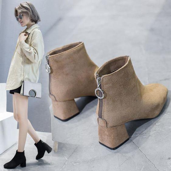 短靴女 2019秋季新款粗跟短靴女單靴子襪靴高跟鞋瘦瘦靴網紅馬丁靴彈力靴