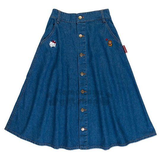 〔小禮堂〕Hello Kitty 牛仔鬆緊傘狀中長裙 《藍.刺繡大臉》長裙.牛仔裙.A字裙 4901610-85633