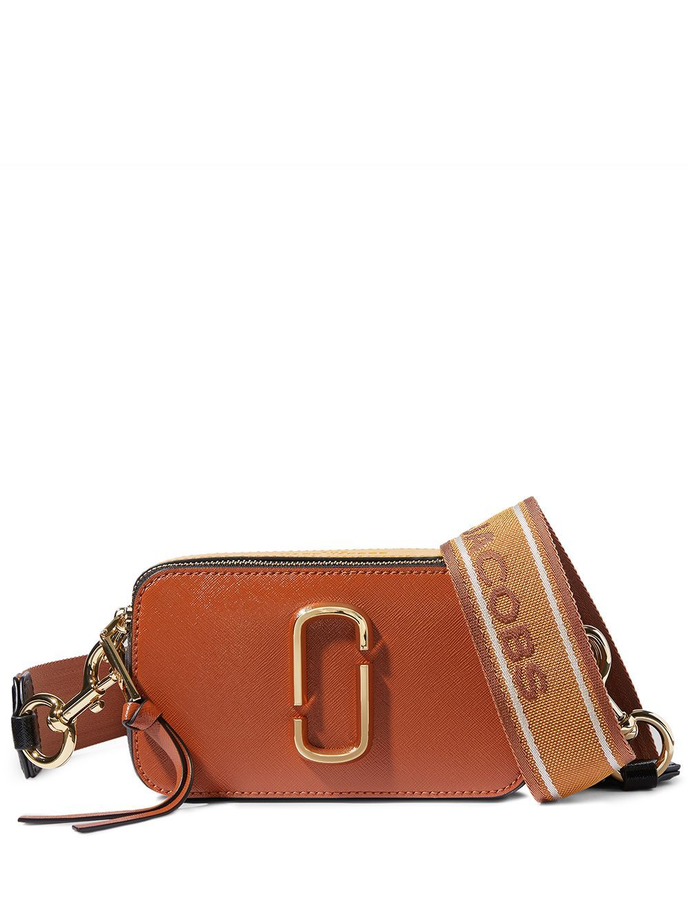 Orange The Snapshot camera bag from Marc Jacobs featuring gold-tone logo plaque, debossed logo, top