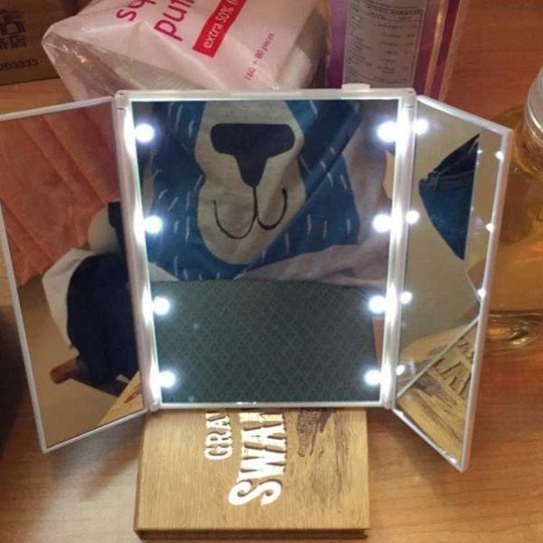 化妝鏡 LED化妝鏡帶燈高清三面鏡子可折疊隨身梳妝鏡便攜99狂歡購物節 維科特3C
