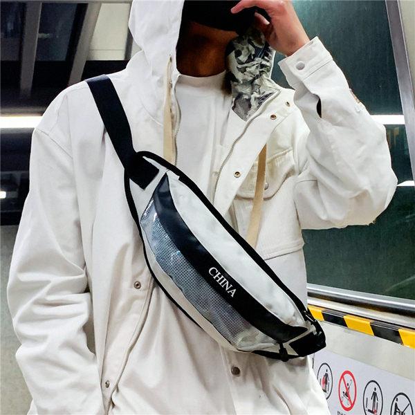 現貨 ins新款潮牌腰包男 男女學生斜挎包個性帆布嘻哈單肩包透明小胸包 型男鞋包 斜背包側背包