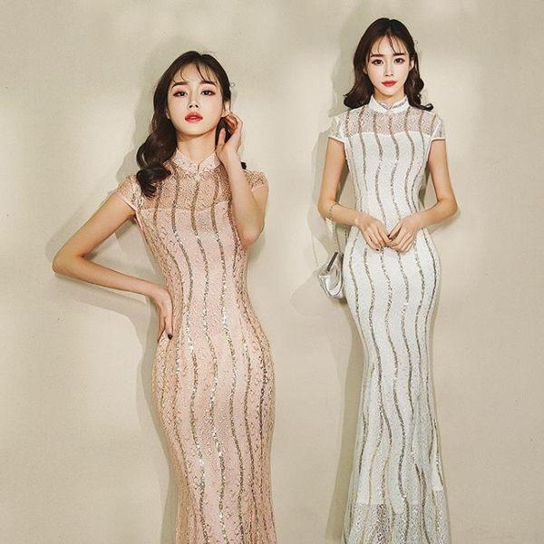 蕾絲亮片魚尾裙長版旗袍宴會禮服修身兩色連身裙 巴黎時尚