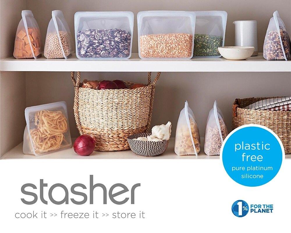 美國Stasher 大長形矽膠密封袋-雲霧白/玫瑰石英粉/紫外光/湖水藍