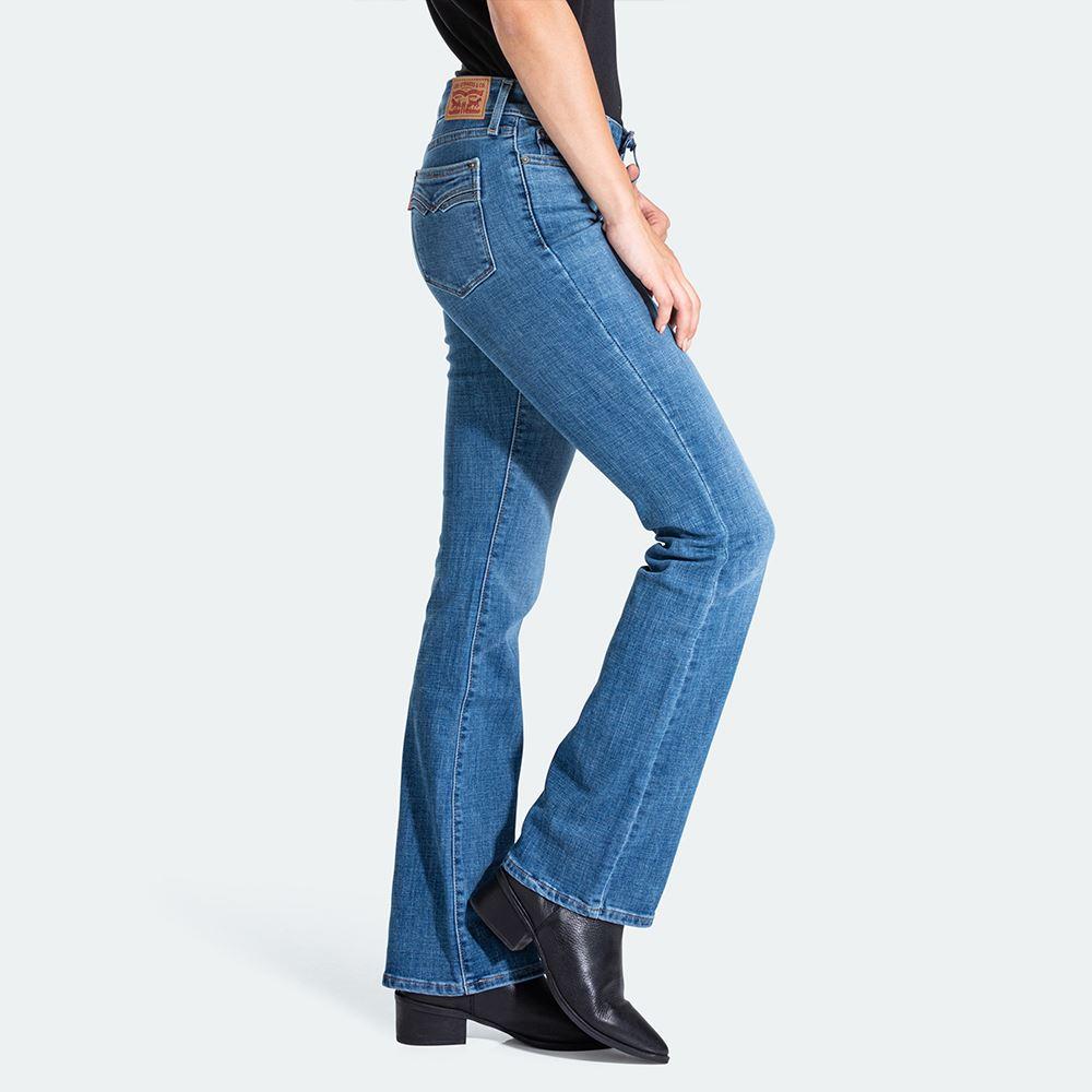 貨號:79065-0001levis 女款 715 中腰合身靴型牛仔褲 / 中藍刷白 / 彈性布料