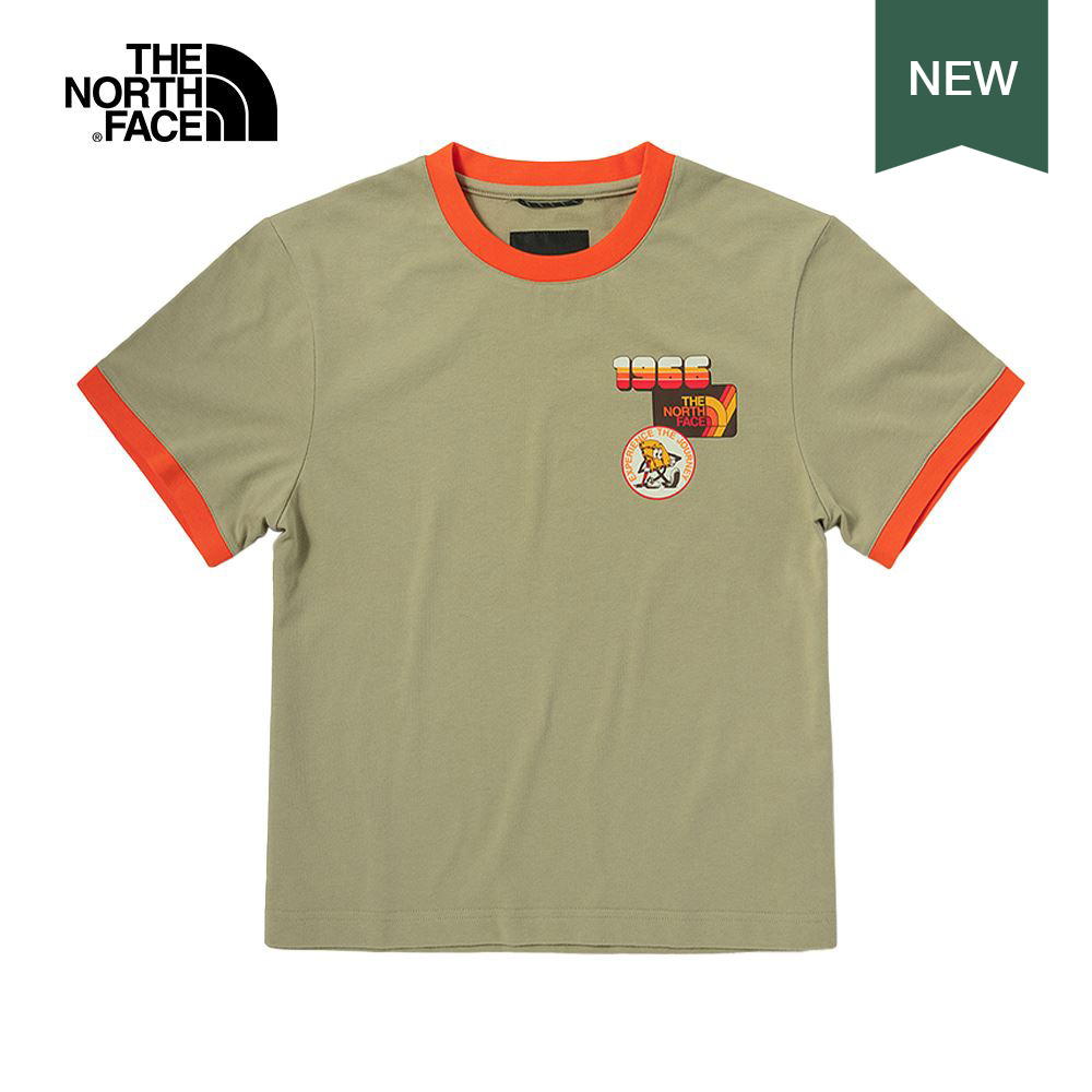 【70'S復古限定】The North Face北面女款卡其色吸濕排汗撞色滾邊短袖T恤|5JZ2ZDL
