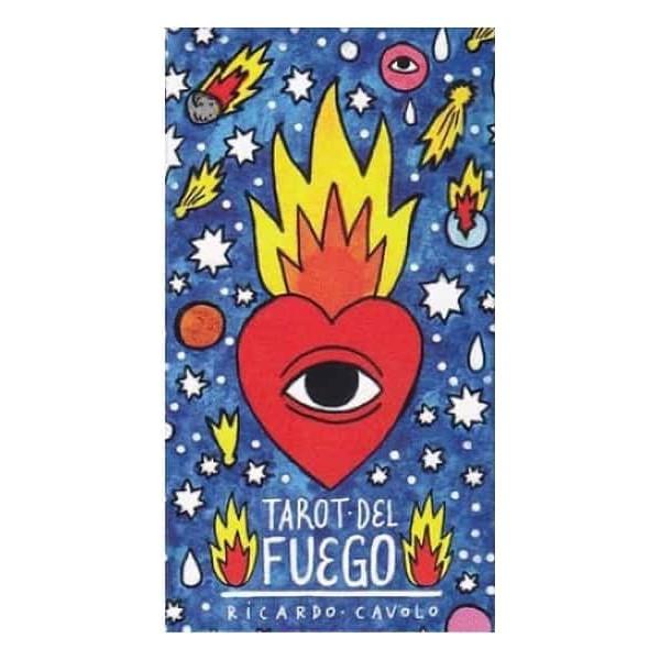 Fuego Tarot78張牌,約6x11公分Lo scarabeo 義大利聖甲蟲公司出版火焰塔羅由西班牙藝術家Ricardo Cavolo所創作,結合流行與紋身藝術,作者以充滿童趣幽默的畫風來表現塔