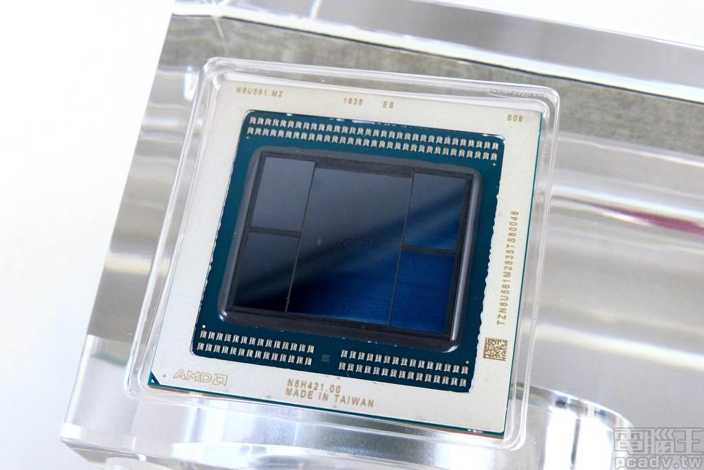 底座一隅嵌入工程版 Vega 20 XT 封裝晶片