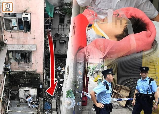 男童疑收衫失足墮樓,送院搶救,警員在場調查。(趙瑞麟/張開裕攝)