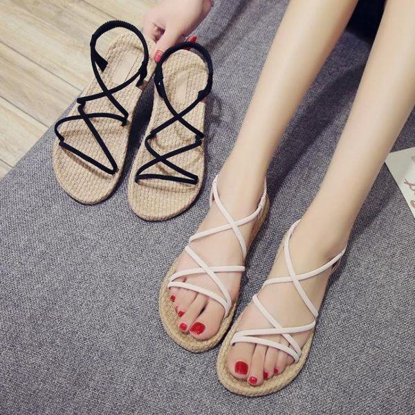 草編鞋 涼鞋女平底學生簡約百搭chic韓版細帶羅馬沙灘 格蘭小舖