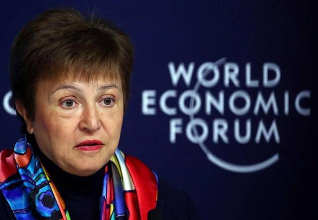 IMF Managing Director Kristalina Georgieva speaks at a news conference ahead of the World Economic Forum (WEF) in Davos, Switzerland, on Jan. 20, 2020.