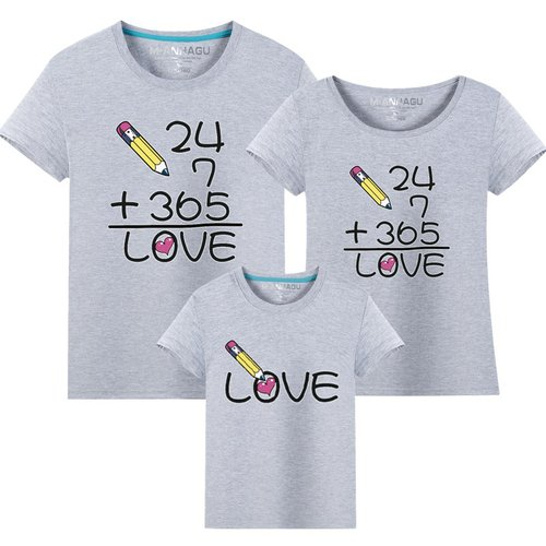 ★韓版MH-S1704《全年無休的愛》短袖親子裝♥情侶裝@四件組♥多色可選♥