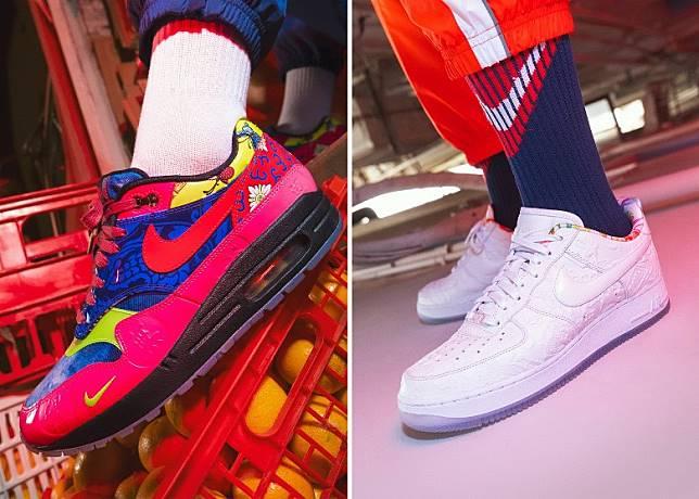 Nike Air Max 1 CNY及Air Force 1 CNY分別採用團年飯為設計靈感的圖案及獨特壓花圖案設計。(互聯網)